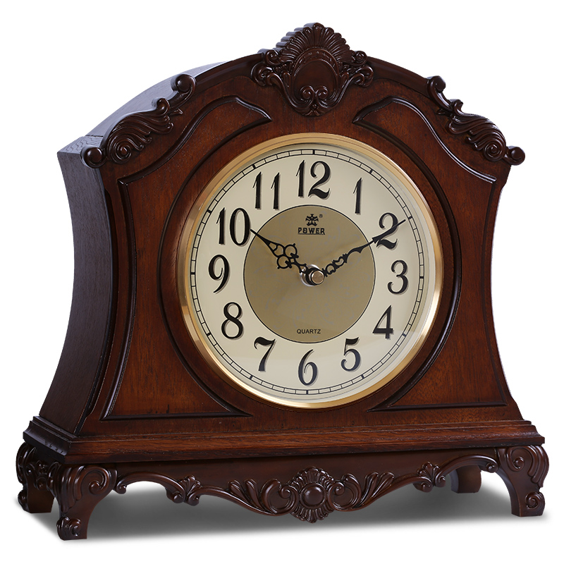PUISSANCE Haut de gamme En Bois Massif Horloge De Bureau Silencieux Mouvement À Quartz Horloge de Table Sculpté À La Main Motif Musique Horaire Carillon Masa Saati Saat