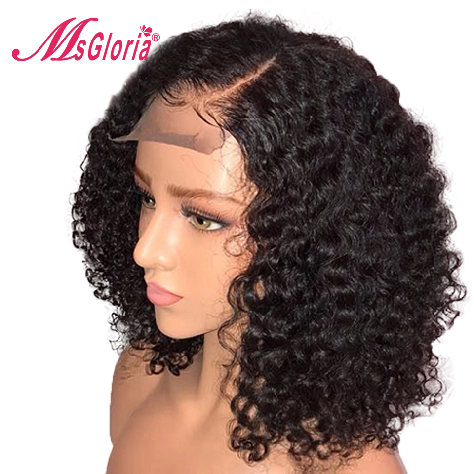 Short 13x6 Curly Lace Front Human Hair Wigs Brazilian Remy Bob Lace Front Wigs For Black