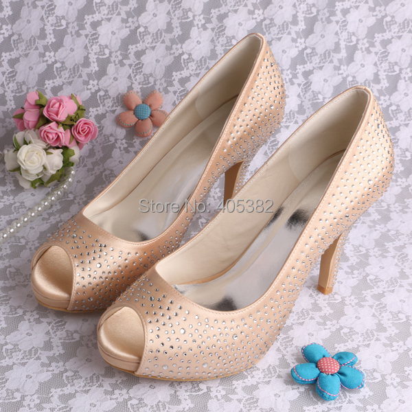 20 ColorsChampagne Crystal Rhinestone Girls Birthday Wedding Shoes For Ladies In Womens Pumps