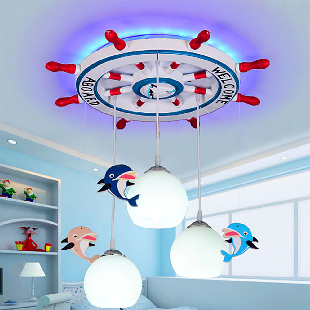 Eye Care Mediterranean Rudder Children Room Ceiling Lamps Cartoon Boy Girl Bedroom LED Art Chandeliers creative cartoon baby cute led act the role ofing boy room bedroom chandeliers children room roof plane light absorption