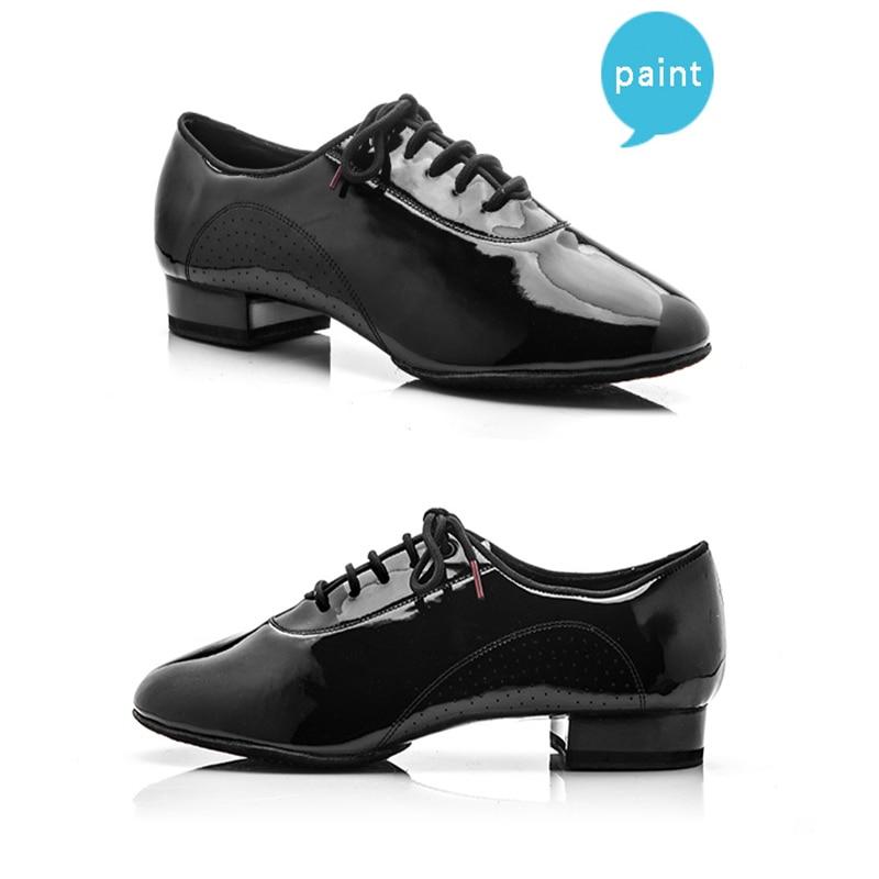 Nowoczesne męskie buty sportowe z prawdziwej skóry Markowe buty do tańca kwadratowego Party Ballroom Buty latynoskie Miękka skóra bydlęca Black BD 309 Kupony