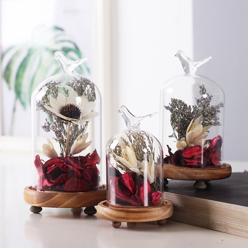 European Style Creative Flower Home Decor Retro Glass Hood Micro-Landscape Figurine Crafts Decoration Home Wedding Accessories
