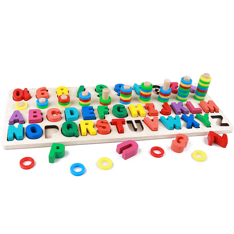 Wooden Montessori Education Materials Learning To Count Numbers Alphabet Matching Digital Shape Match Early Teaching Math Toys