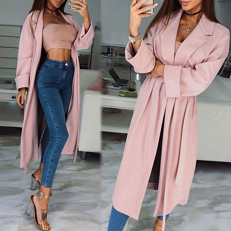 Elegant Women's   Trench   Coat 2019 Autumn Long Outerwear Belted Female Open Front Cardigan Casual Lapel Thin Outerwears