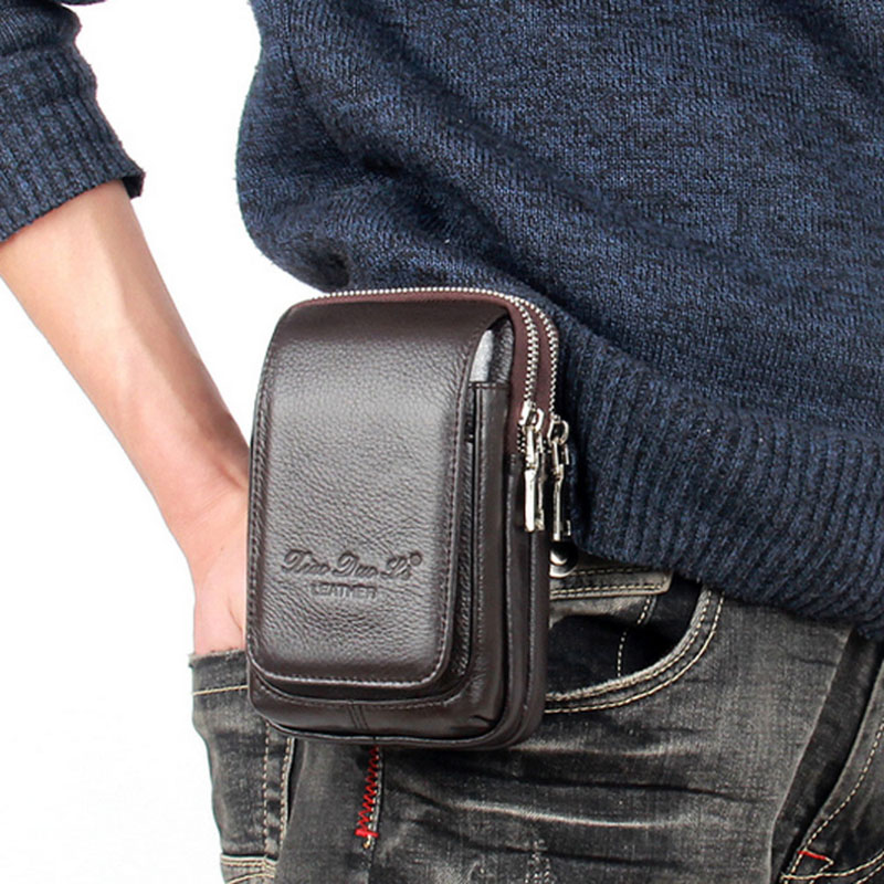 Men Leather Fanny Waist Bag Cell/Mobile Phone Coin Purse Pocket Belt Bum Pouch Pack Vintage Hip Bag High Quality 2