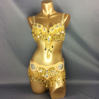 Hot Design Handmade Beaded Belly Dance Costume Wear Bar Belt 2piece Set 2 Color Ladies Belly
