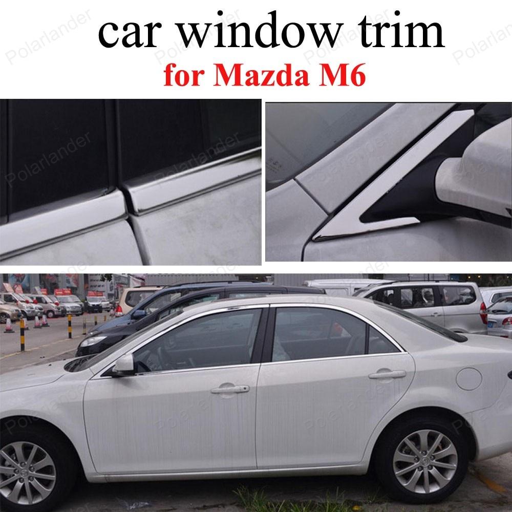 Pour m-azda M6 en acier inoxydable garniture de fenêtre bâche de voiture accessoires extérieurs sans colonne