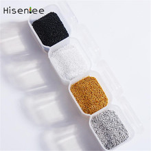Golden Silvery Micro All New Metal 4 Grid/Box Nail Art Caviar Beads Mermaid 3D Stainless Stud Design Decorations Accessory Tool