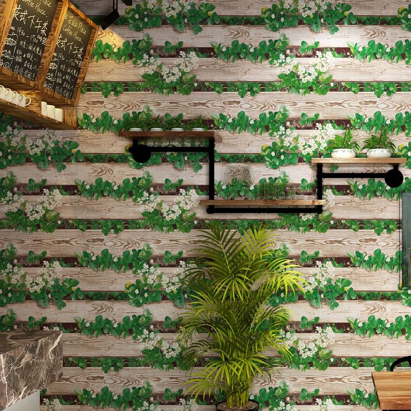 Style Rural Fleur Bois grain 3D papier peint Vert plantes Vertical rayures sticker mural Entrée Fond mur papier peint