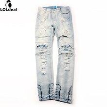 Стиль мужские штаны комбинезон городской рок-звезда проблемные тощий дизайнер молнии разорвал сломанной отверстие джинсы высокого качества