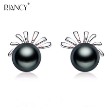 Fashion Women Natural Freshwater black Pearl Stud Earrings 925 Sterling Silver Earrings Wedding Jewelry beautiful 925 sterling silver earrings women wedding cultured natural freshwater black pearl earrings