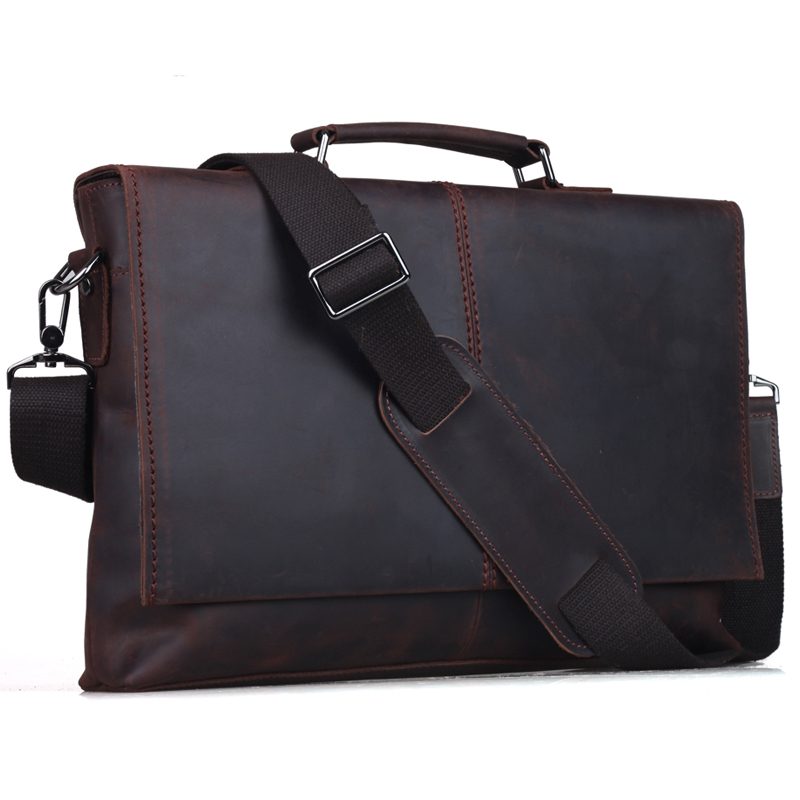 Tiding Man Bag Genuine Leather Briefcase For Notebook 13