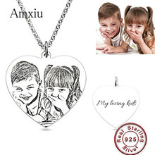 Amxiu Engrave Words Custom Picture 925 Sterling Silver Necklace Heart Pendant Personalized Photo Necklace Jewelry For Lover Gift necklace 925 sterling silver custom photo
