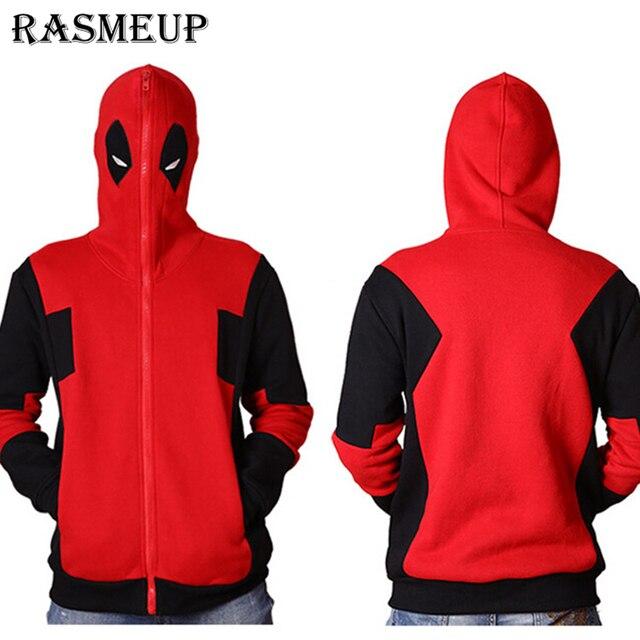 RASMEUP Anime Characters Hoodies Deadpool Hoodie Marvel Comic Wade Wilson Hooded Sweatshirt Zipper Jacket Winter 3D Hoodies