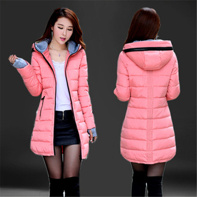 2016Winter women Jacket Coat Silm Women Down Coat Middle Long Thicken Down Jacket Women Hooded Large size  Wadded Jacket G0040