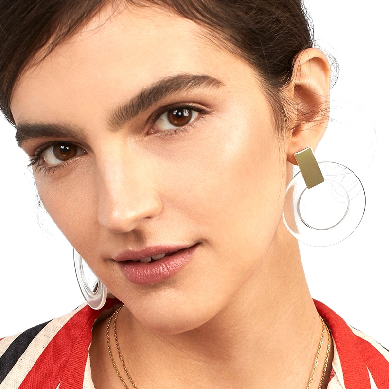 Geometric Transparent Hoop Earring For Women Simple Big Circle Acetate Statement Boho Wedding Jewelry #1