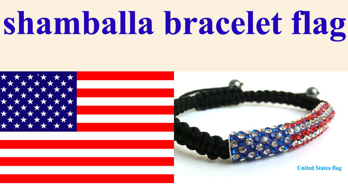 Retail Whole Fashion Jewelry Shamballa Bracelet Flag United States Usa 15pcs Lot Free Shipping In Strand Bracelets From