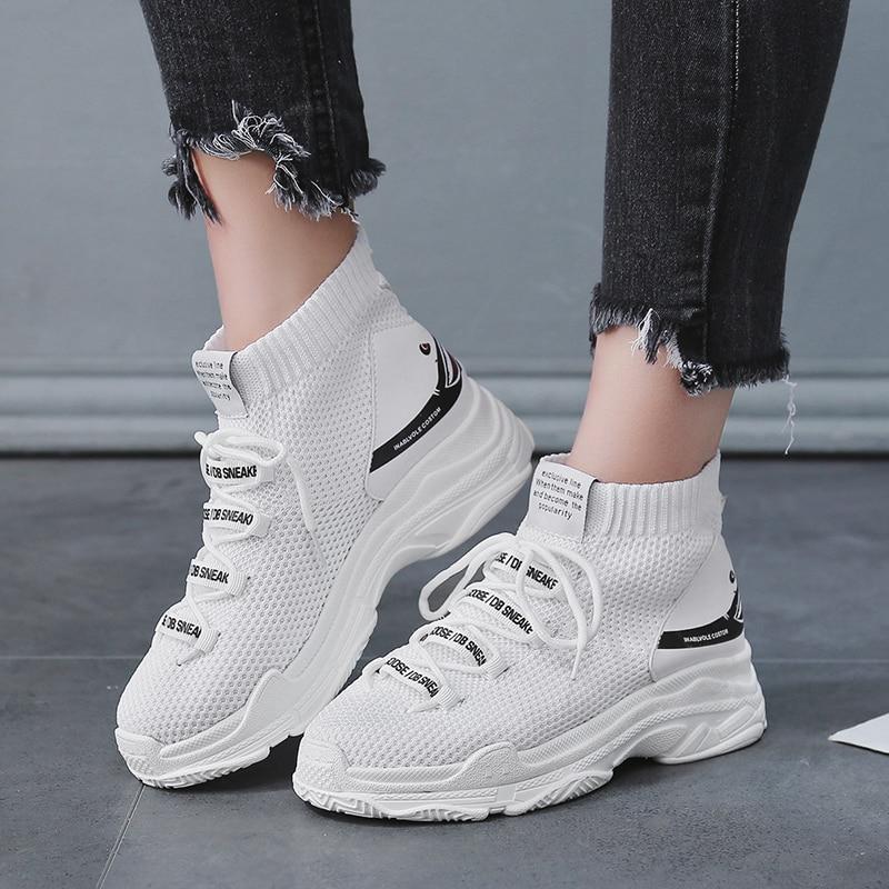 Underwear & Sleepwears Trend Mark Sock Sneakers Women Running Shoes Height Increasing Sport Shoes Breathable Mesh Ladies Shoes Elastic Zapatillas Mujer Deportiva