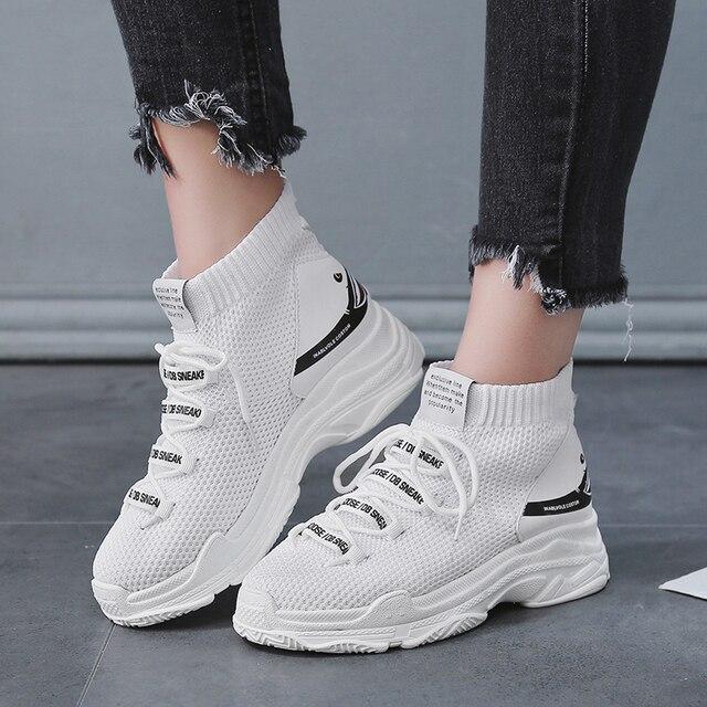BomKinta/увеличивающие рост Дизайнерские повседневные носки с акулой; женские высокие кроссовки; женская обувь на платформе; женская обувь на плоской подошве с буквенным принтом