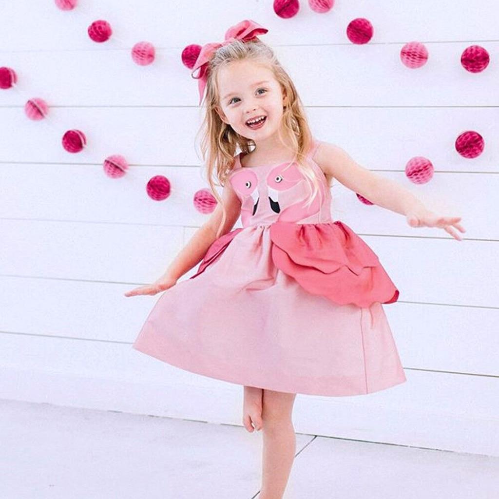 Платье без рукавов с оборками и рисунком лебедя для маленьких девочек, модные летние платья для маленьких девочек, robe Fille
