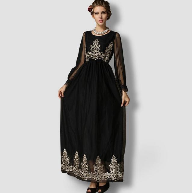 2016 Adulto Jilbabs Y Abayas Abaya Kaftan Musulmán Turco Musulmán de Las Mujeres retro de oro bordado de gasa fina hueco vestido largo w438