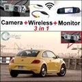 3 in1 WIFI Cámara + Receptor Inalámbrico + Monitor Del Espejo Especial fácil de copia de seguridad de sistema de aparcamiento para volkswagen vw new beetle bjalla
