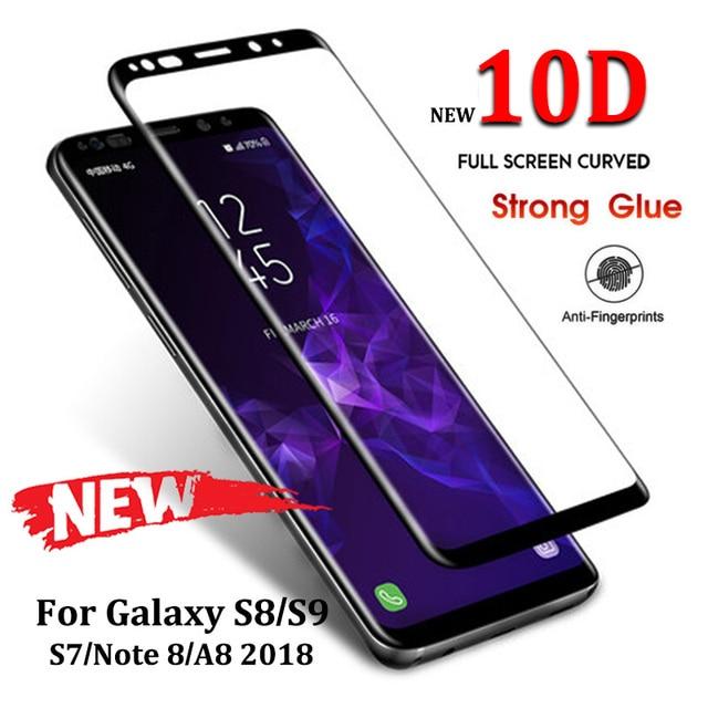 6D полный изогнутое закаленное Высокопрочное Стекло для samsung Galaxy S8 S9 Plus Note 8 9 Экран протектор для samsung A8 A6 2018 S7 окаймление стеклянная пленка