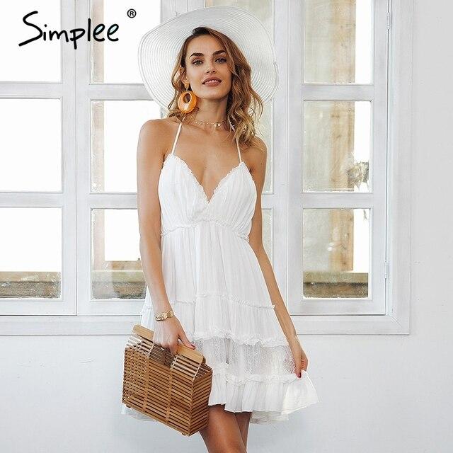 Simplee Strap backless mini summer dress women V neck