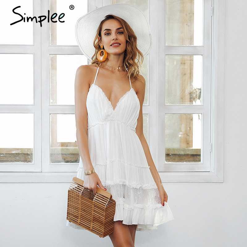3953d70c1d Simplee Strap backless mini summer dress women V neck tassel sexy lace  white dress female 2018