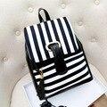 Fashion Brand New Black White Pu Leather Women's Backpack striped Female School Backpacks Free shipping HBE08