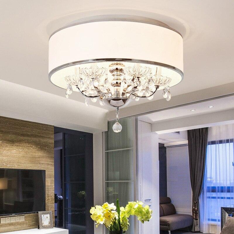 European Crystal Chandelier Modern Minimalist Bedroom Lamp Round Creative Restaurant Lamp American Living Room Lamp