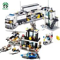 Kazi City Police Station Truck Set Building Blocks Bricks Constructor Set Educational Toys For Children New