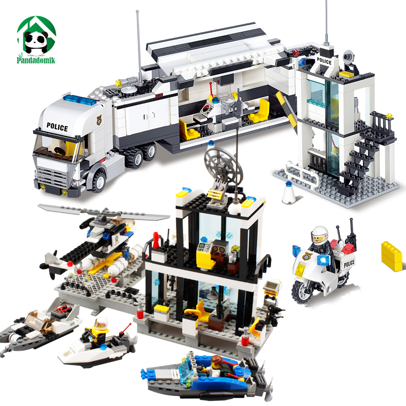 Kazi City Police Station Truck Set Building Blocks Bricks Constructor set Educational Toys for Children New Year Gift Kids Boys 6727 city street police station car truck building blocks bricks educational toys for children gift christmas legoings 511pcs