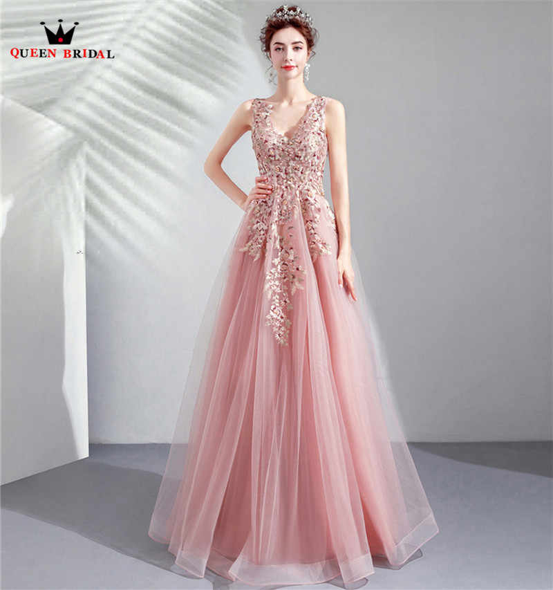 f71ec4762 Detail Feedback Questions about QUEEN BRIDAL Evening Dresses A line V neck  Tulle Lace Flowers Beads Sexy Long Bride Party Prom Dress 2019 Vestido De  Festa ...