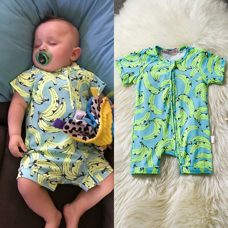 Summer Baby Hawaii Clothes Baby Banana Print Rompers Jumpsuit Toddler Boys Girl 1 2 Years Outfits Pajamas Bebes Holiday Costume