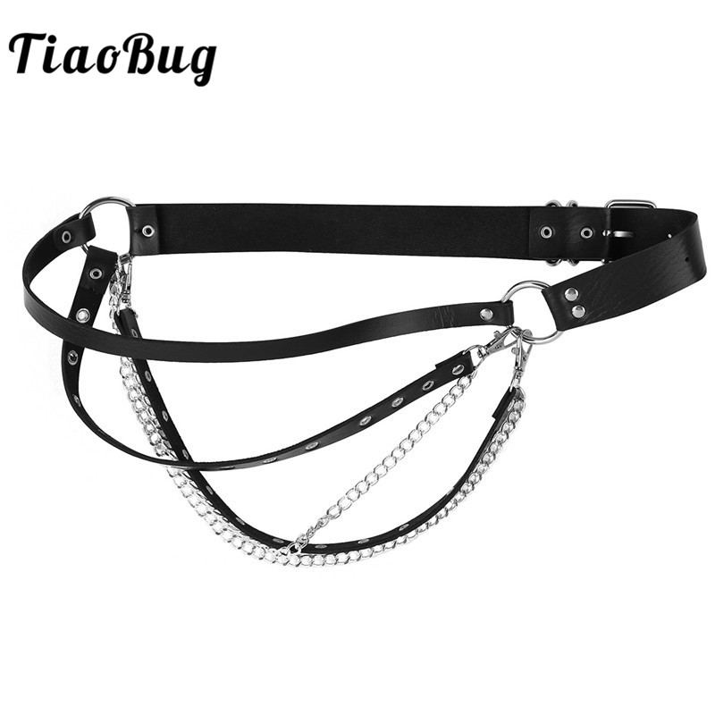 TiaoBug Fashion Women Punk Gothic Rave Faux Leather Harness Club Party Costume Garter Belt Sexy Dance Belt Waistchain Accessory
