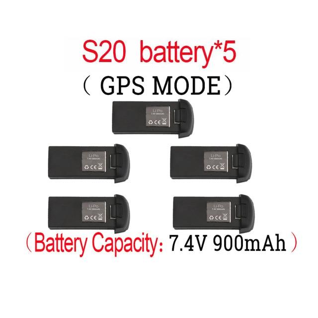 Original S20W GPS RC Drone 7,4 V 900mAh Lipo batería para S20 recambios de cuadrirrotor RC accesorios batería recargable Drone 22 en 1, accesorios prácticos para Hobby, simulador RC de fácil instalación, juguete libre con Cable USB para RealFlight G7