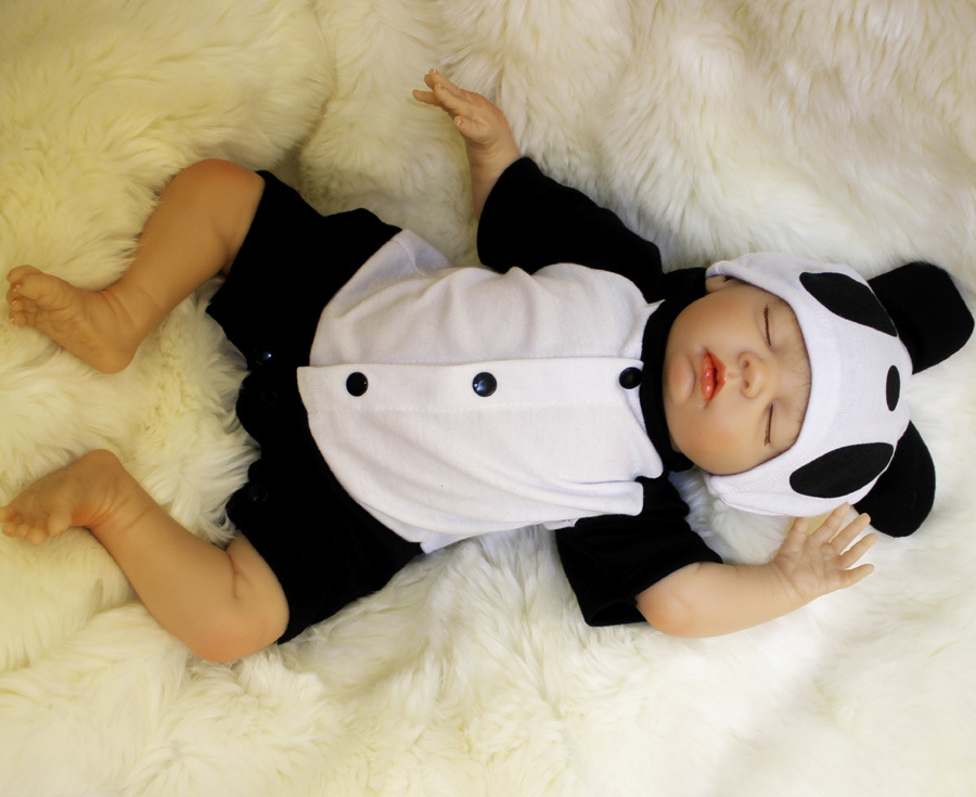 Image 4 - OtardDolls Bebe Reborn Dolls 18 inch Reborn Baby Doll Soft Vinyl Silicon Newborn Doll bonecas Panda Clothes For Children Gifts-in Dolls from Toys & Hobbies