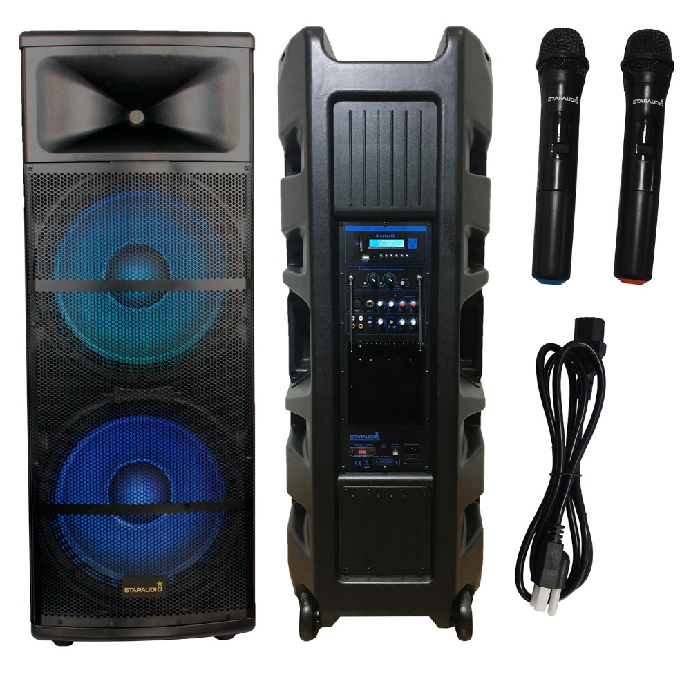 staraudio pro dual 15 inch 5000w powered pa dj bar speakers with bluetooth sd card mp3 player led lighting vhf microphones