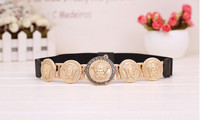 Fashion Brand Wide Wild Vintage Luxury Elastic Stretch Bow Ladies Belts Metal Gold Buckle Waist For