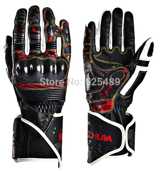 New Brand Genuine Leather & Carbon Fiber Waterproof Motorcycle Gloves Motocross Knight Racing Gloves Motorbike Protective Gears