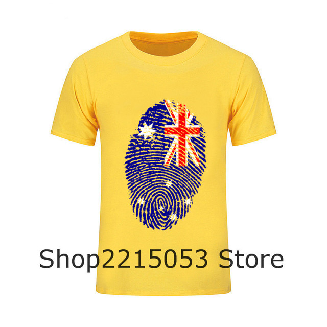 New Style Funny Hip Hop T Shirt Australia Flag Fingerprint Youth Short  Sleeve Tshirs Pre- 71bbabd98fd