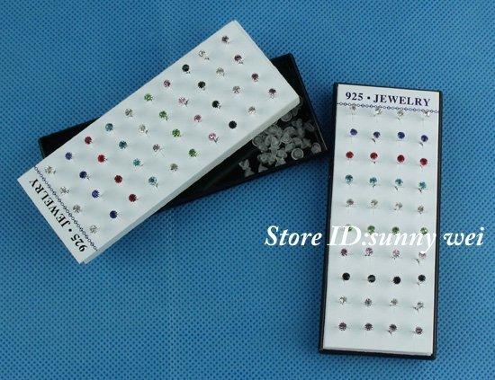 Wholesale 40pcs Nice 925 Sterling Silver Pierced Stud Earrings 2mm,40pcs/lot,Hot!!