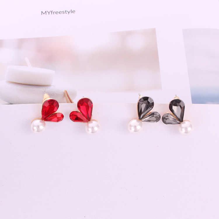 Korean Red Gray Big Crystal Love Heart Stud Earrings Fashion Jewelry Simulated Pearl Tassel Pendientes Brincos For Girls