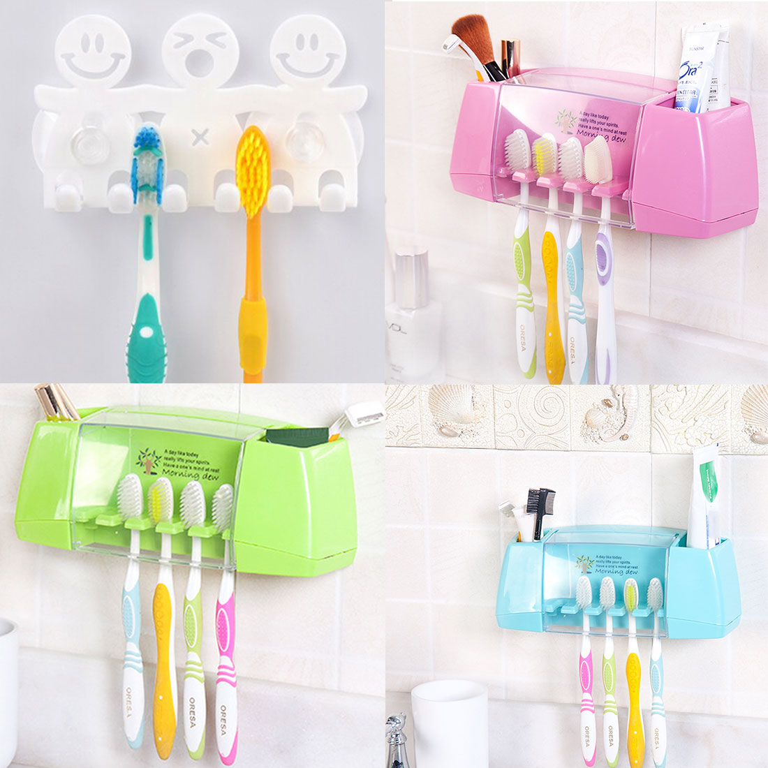 Bulk Bathroom Supplies: Wholesale Cartoon Toothbrush Holder Suction Hooks Cups
