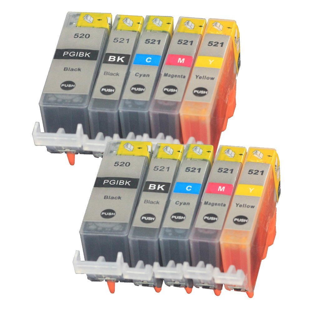 10PK Compatible Ink Cartridge CLI521 PGI520 Replacement for Canon Pixma IP3600 IP4600 IP4700 MP540 MP550 MP560 MP620 Printers