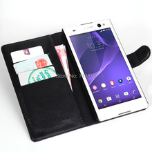 Flip Cover For Xperia C3,Flip Leather Bag Cover with Stand and Card Holder,Lichee Grain For Sony Xperia C3