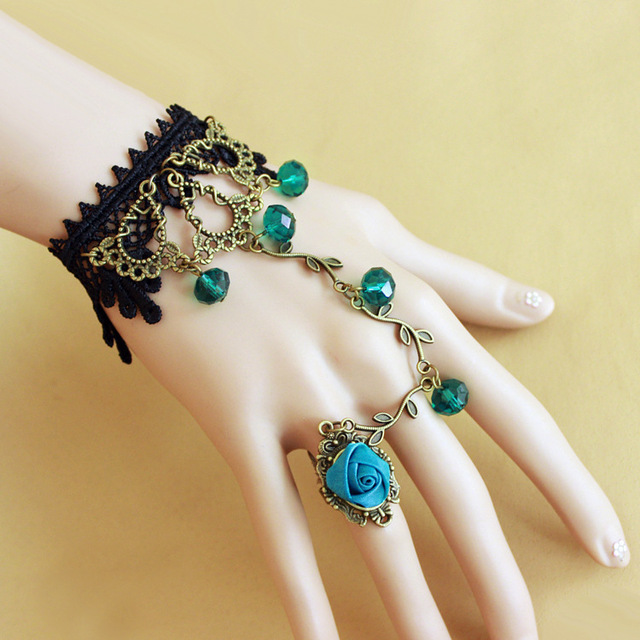 Blue Crystal Black Lace Retro Alloy Charm Bracelet Attached Rings Women Accessories Punk Timbo Rose