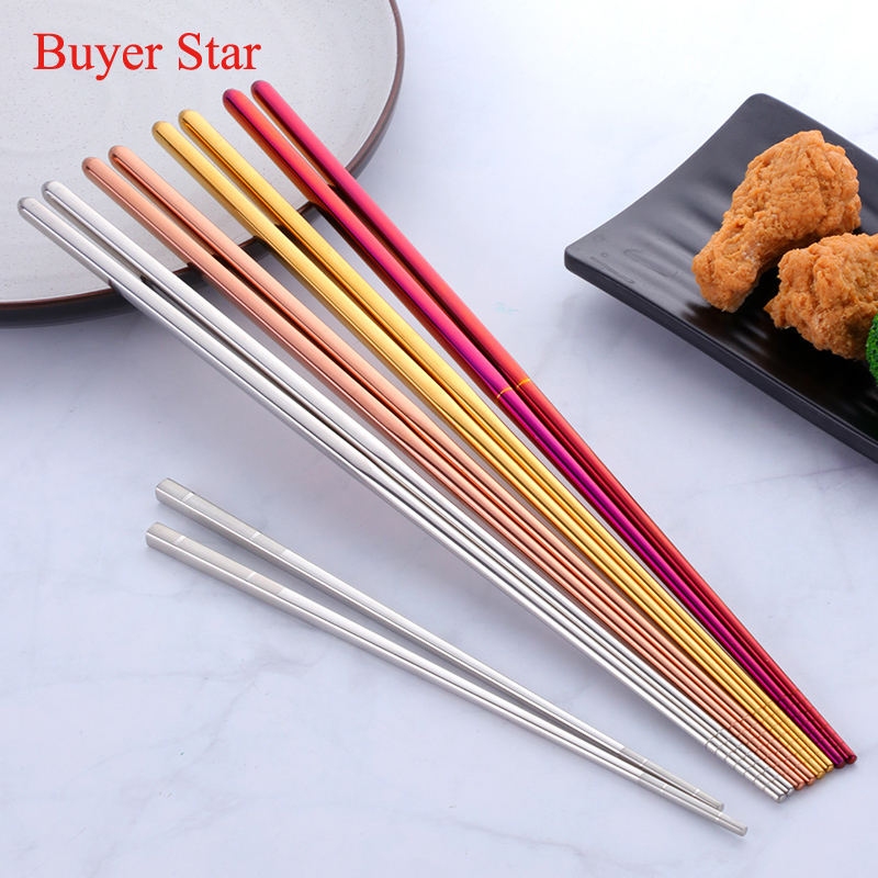 2 Pairs Stainless Steel Extra Long Chinese Chopsticks Reusable Anti-Skip Long Handled Chopsticks For Fry Food Beef Kitchen Tool image