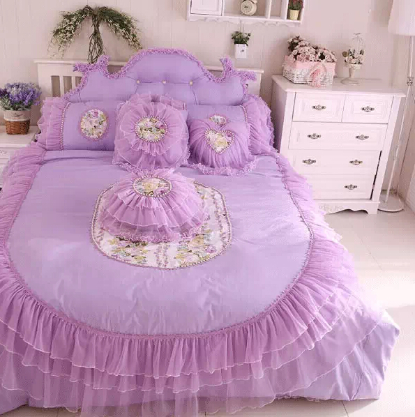 princess luxury lace bedding sets cottongirls twin full queen king size romantic home textile